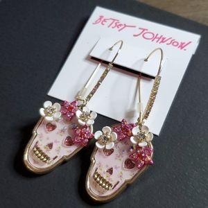 Betsey Johnson Floral Skull Long Drop Earrings